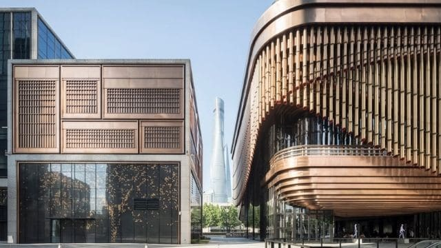 finance centre in Shangai with bronze fins