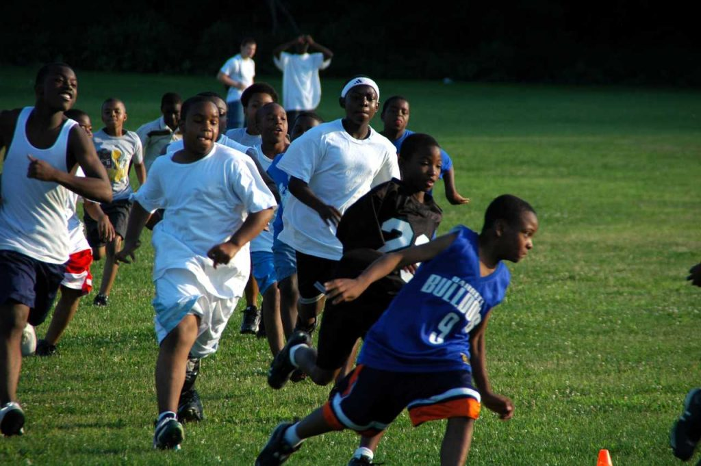 Kids engaged in sporting activities